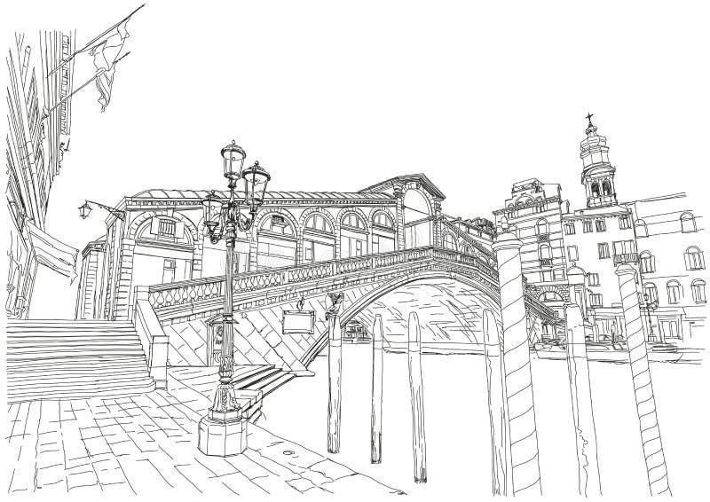 Venetië - groot kanaal De Brug van Rialto stock illustratie