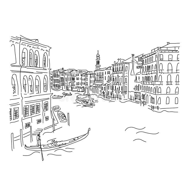 Venetië, groot kanaal Schets voor uw ontwerp royalty-vrije illustratie