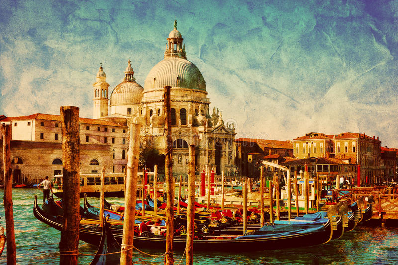 Venetië, Italië Gondels op Groot Kanaal wijnoogst vector illustratie