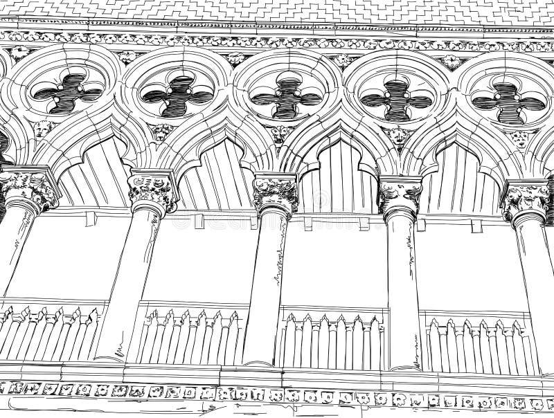 Venetië Kolommen van het Paleis van de Doge royalty-vrije illustratie