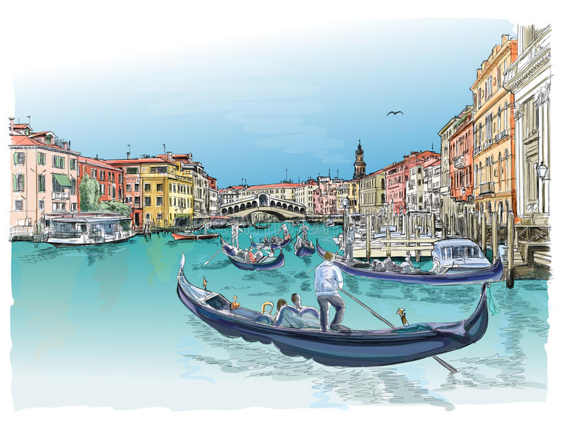 Venetië Mening van de Brug Rialto vector illustratie