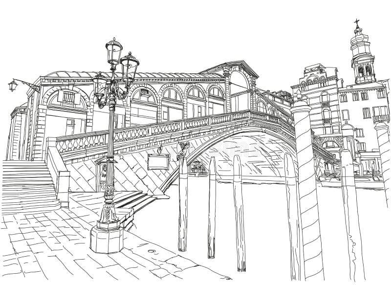 Venetië Mening van de Brug Rialto royalty-vrije illustratie