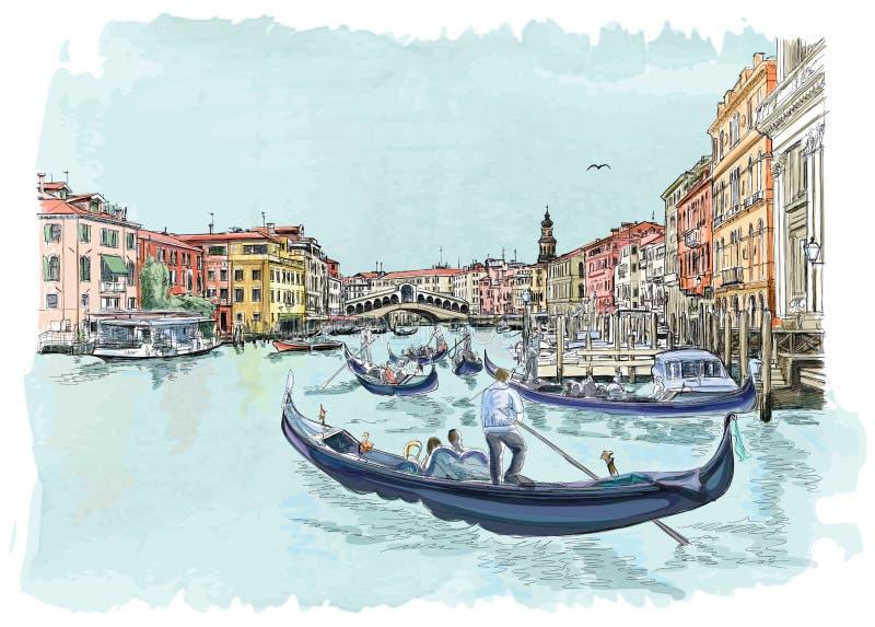Venetië - Mening van de Rialto-Brug royalty-vrije illustratie