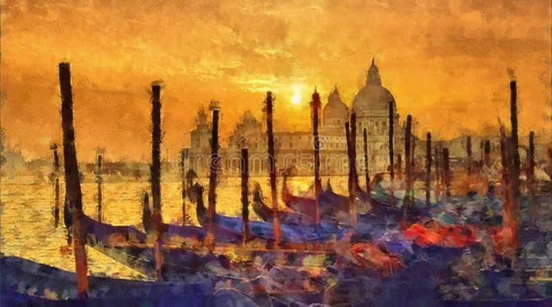 Venetië op zonsondergang royalty-vrije illustratie