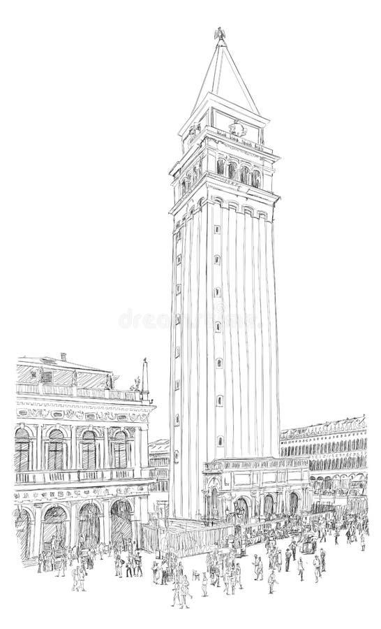 Venetië - Piazza San Marco en Kampanila royalty-vrije illustratie