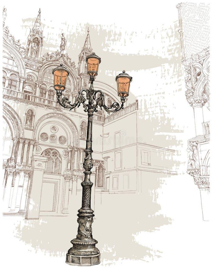 Venetië Piazza San Marco lantaarn op St het Vierkant van het Teken vector illustratie