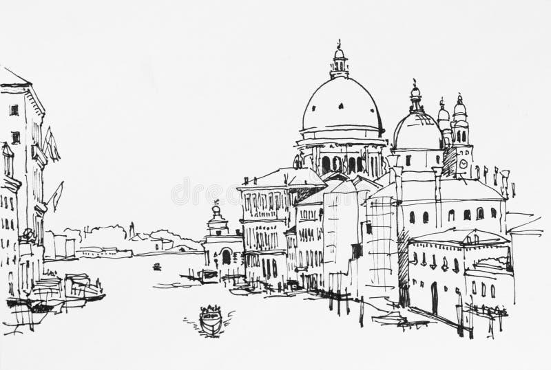 Venetië veiw op Groot kanaal van Academia brug aan Santa Maria D vector illustratie