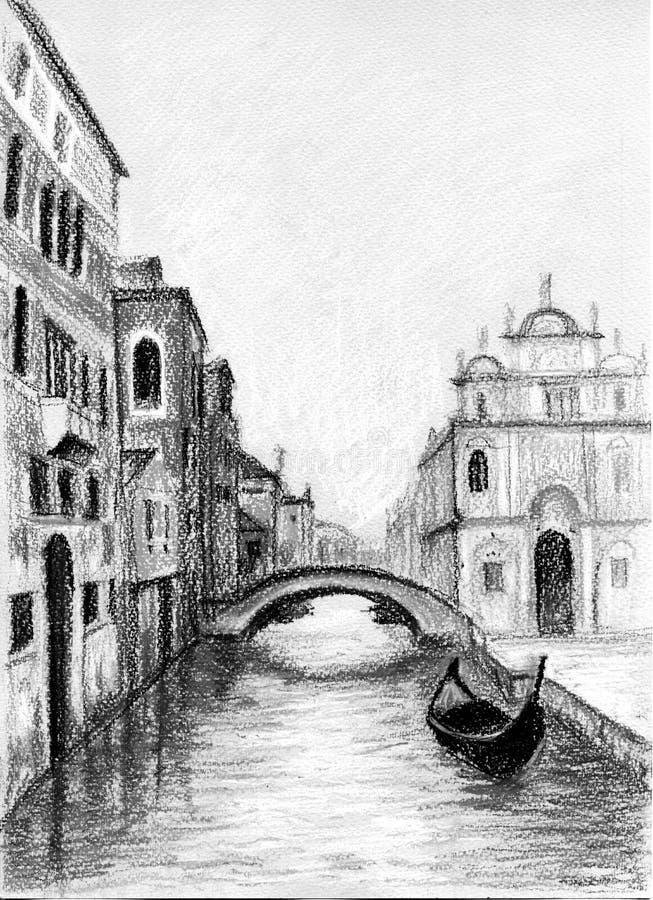 Venetia i gondole na korytkowym ilustracja secie ilustracji