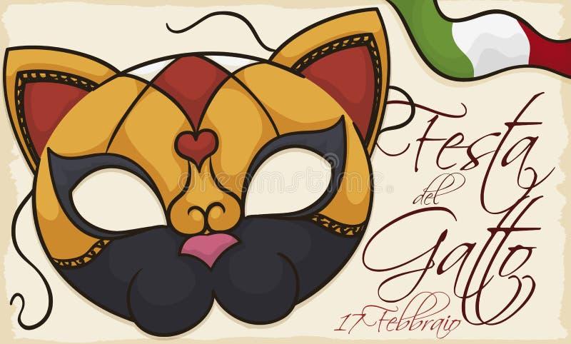 Venetiaans Masker als Katachtig om Cat Day, Vectorillustratie te vieren royalty-vrije illustratie