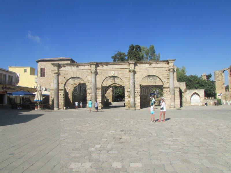 Venetiaanse vesting in de 15de eeuw van Famagusta, noordelijk Cyprus stock afbeelding