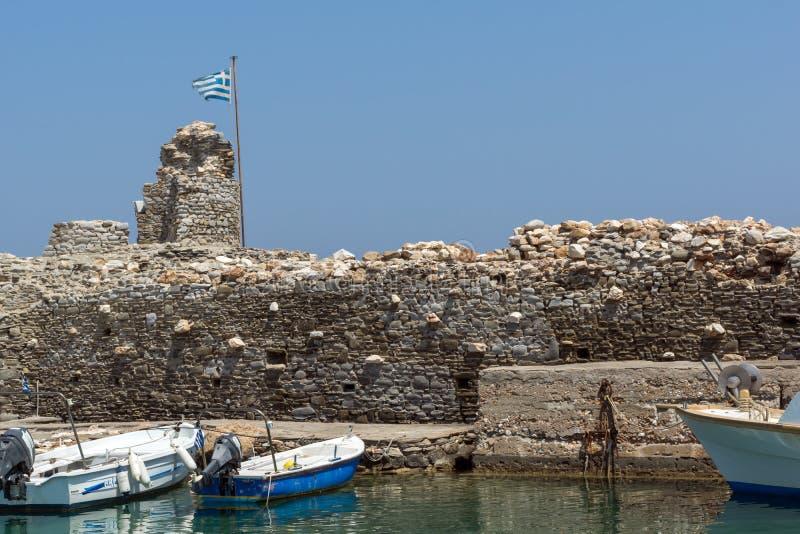Venetiaanse vesting en haven in Naoussa-stad, Paros-eiland, Griekenland stock fotografie