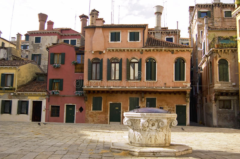 Venetian architecture. Coloured Venetian Buildings in Venice, italy stock photos