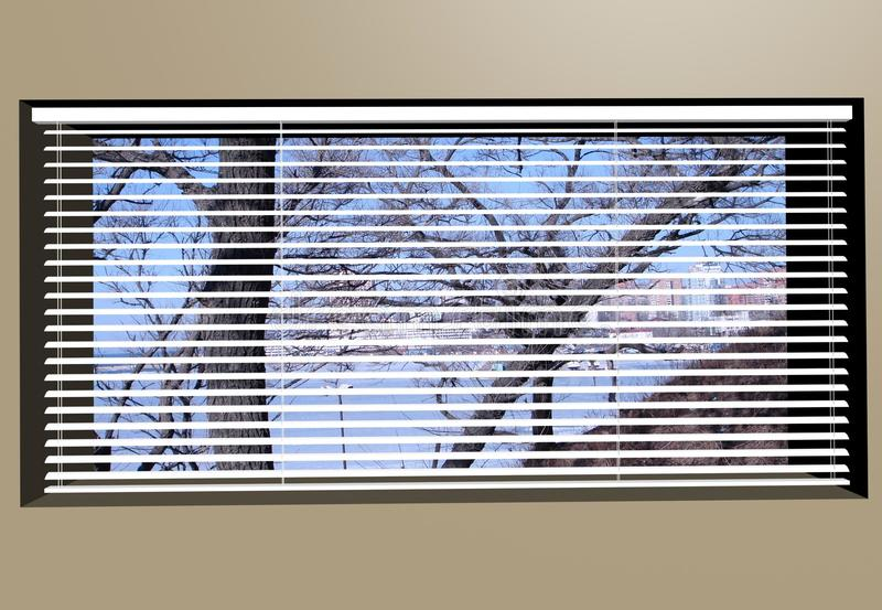 Venetian Blinds 3d max. Window plastic blinds in a shade of gray stock illustration