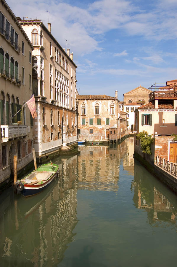 Venetian buildings. Buildings and canals in Venice, Italy royalty free stock photo
