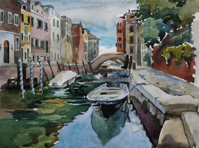 Venetian canal with parked to pavement boats architecture watercolor landscape original illustration royalty free illustration