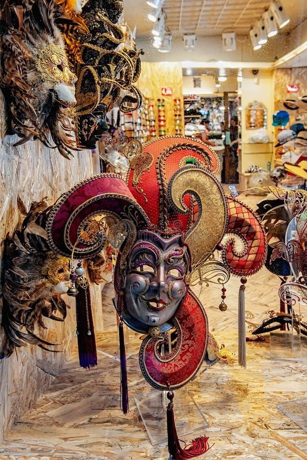 Venetian carnival mask. Street shopping. Famous souvenir. Italian market. Italy, Venice stock photo