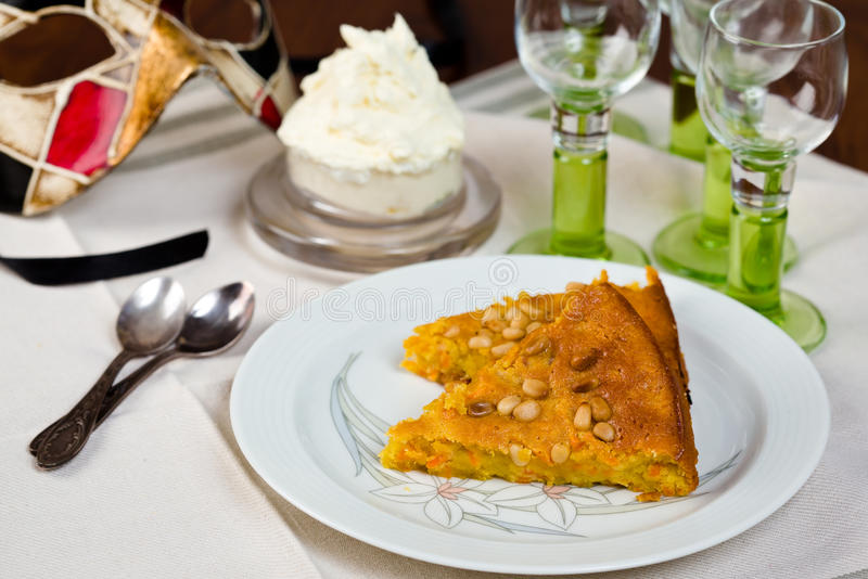 Venetian Carrot Cake Serving royalty free stock photo