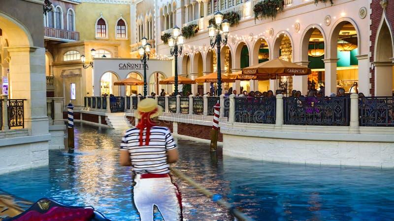 Venetian Casino. Las Vegas, Venetian Casino , by night in side view stock image