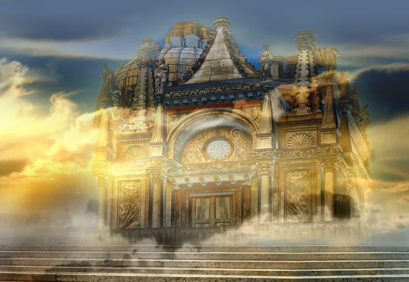 Venetian Castle. Italian imagination collage surrealism collection of surreal vector illustration
