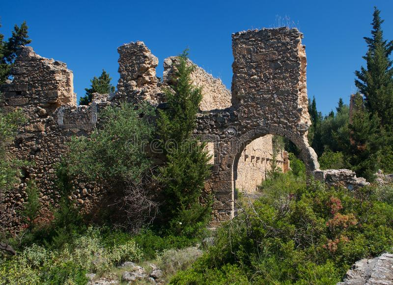 Venetian Castle Ruins near Assos village in Kefalonia Cephalonia island in Greece. Europe royalty free stock photography