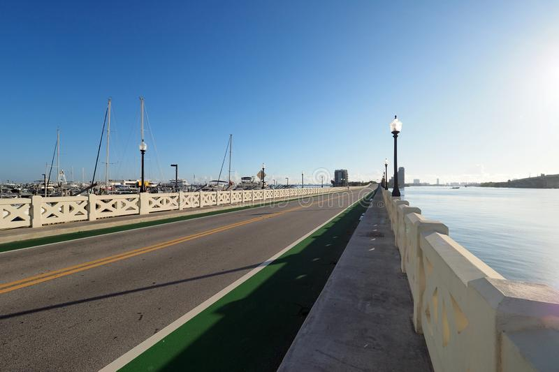 Venetian Causeway between Miami and Miami Beach, Florida. royalty free stock photos