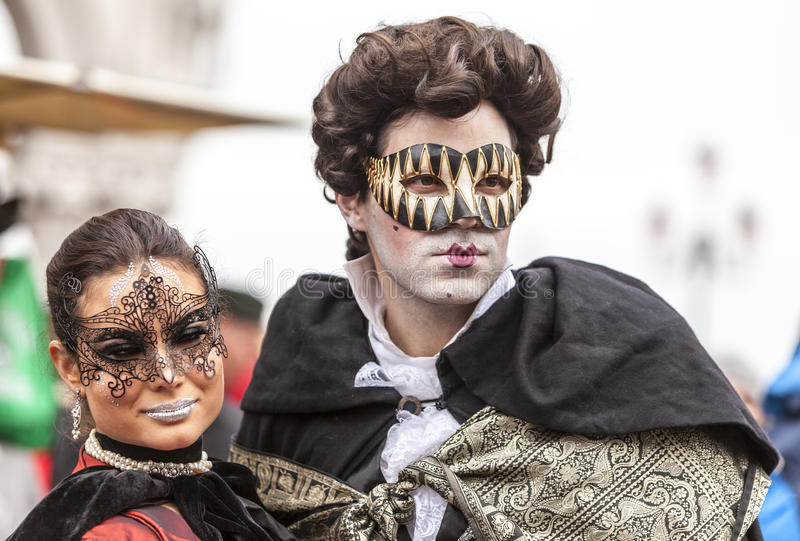 Venetian Couple - Venice Carnival 2014 royalty free stock images