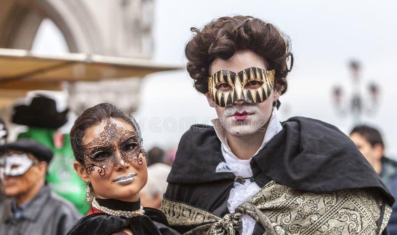 Venetian Couple - Venice Carnival 2014 stock photography