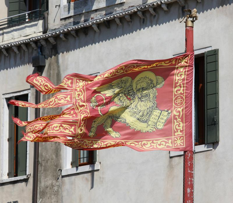 Venetian flag waving on the wind royalty free stock photos