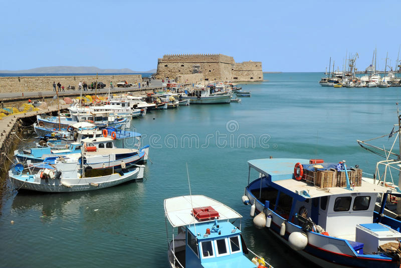 Venetian Fortezza and Old Port in Heraklion royalty free stock photography