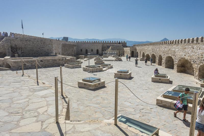 Venetian fortress , Iraklion. Venetian fortress Koules in Heraklion Crete , Greece , Europe. On the roof of the fortress royalty free stock images