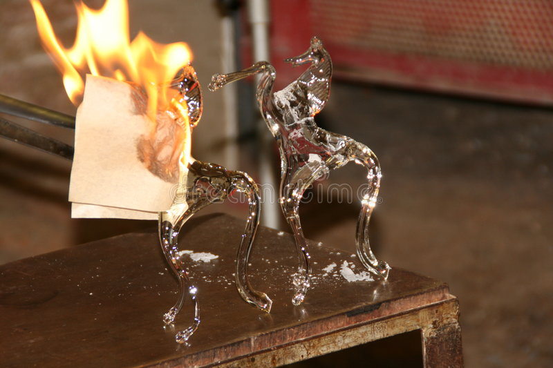 Venetian glass production. stock images