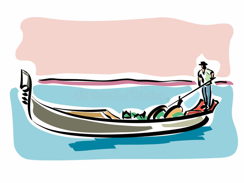 Venetian gondola stock illustration