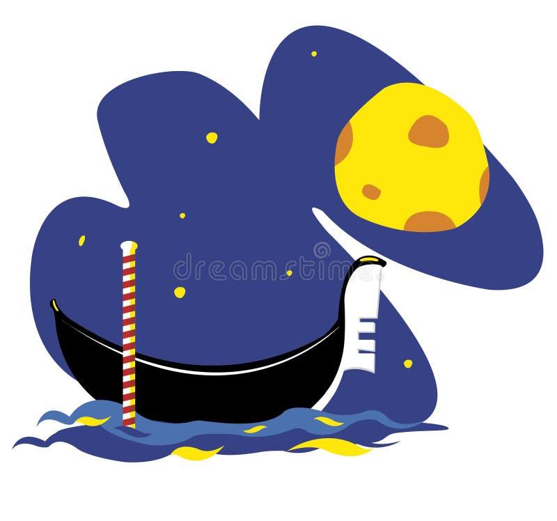 Download Venetian Gondola by Night stock vector. Illustration of moon - 27181571