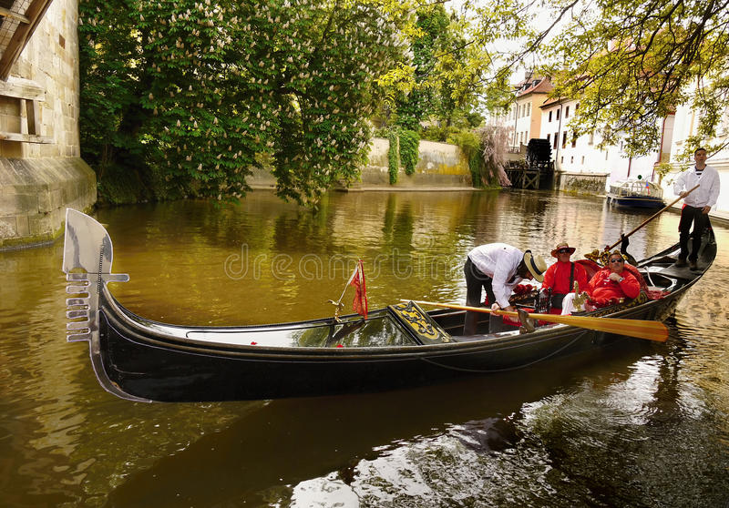 Venetian Gondola, Romantic Cruise, Prague stock photo