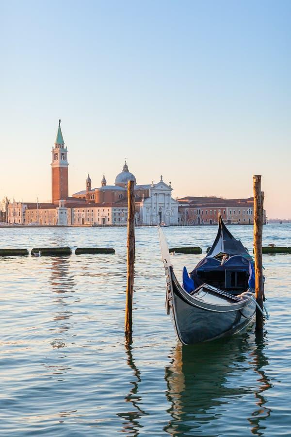 Free Venetian Gondola With San Giorgio Maggiore Church At Background In Venice Stock Photography - 136721522