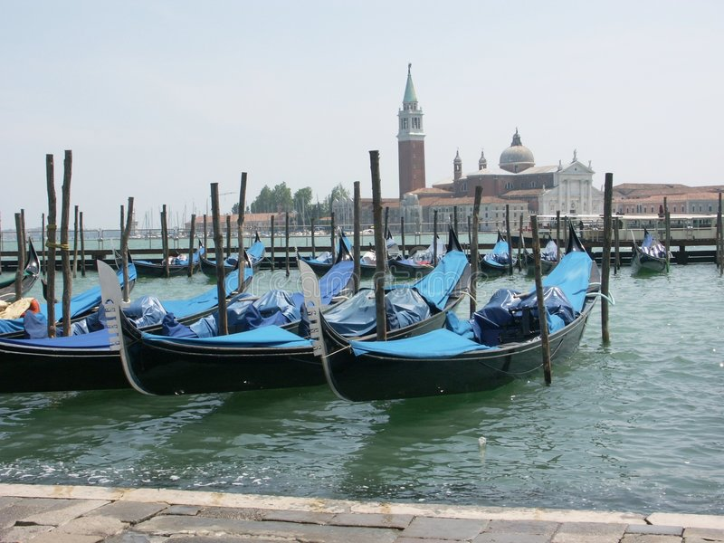 Venetian Gondolas on Lagoon royalty free stock photos