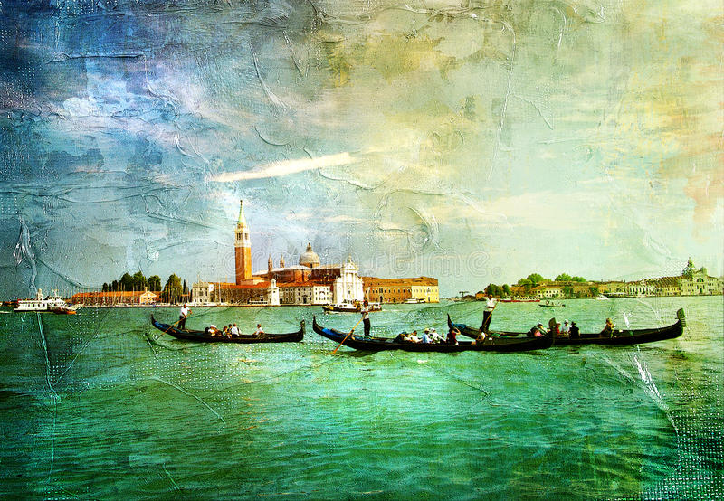 Venetian Grand canal. Picture in painting style vector illustration