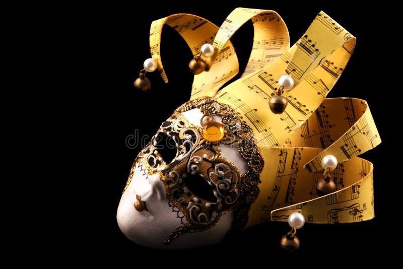 venetian guld- maskering royaltyfri bild