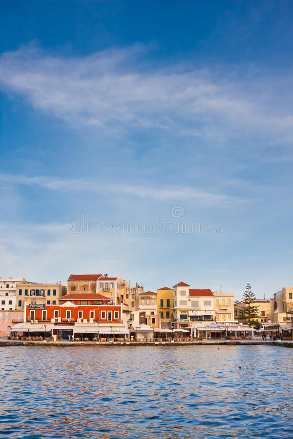 Venetian harbour in Chania royalty free stock photos