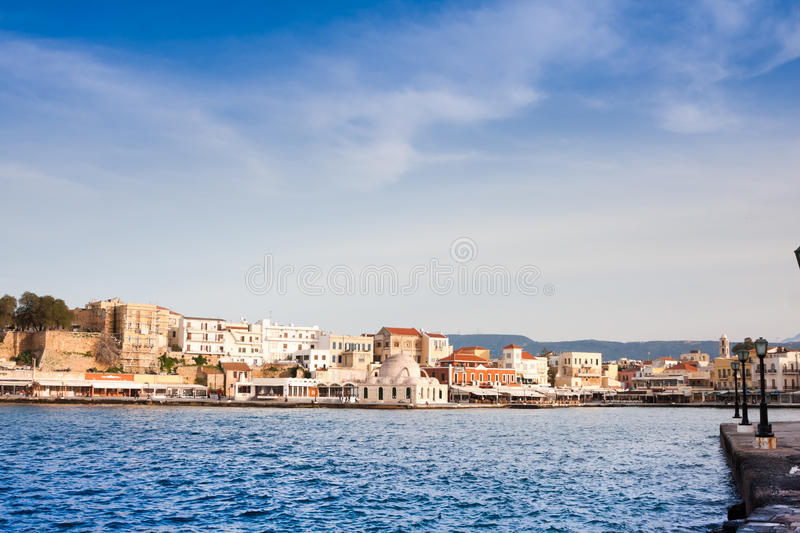 Venetian harbour in Chania royalty free stock photo