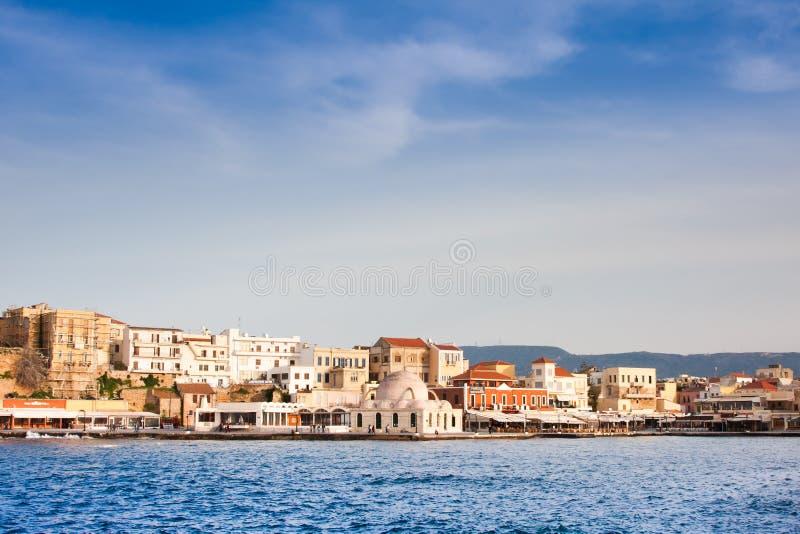 Venetian harbour in Chania stock image