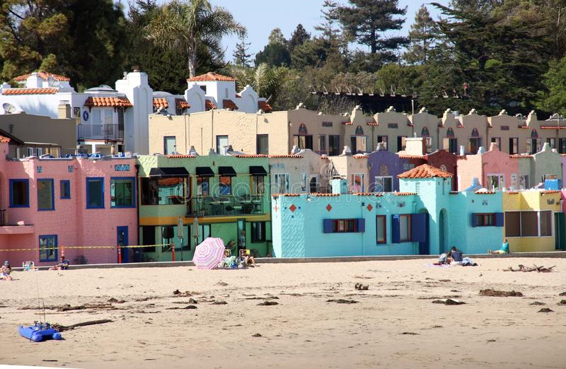 Venetian hotel, Capitola California. Brightly colored beachfront hotel is an icon in Capitola. The stucco buildings are pink, green, yellow and blue, in an royalty free stock photos