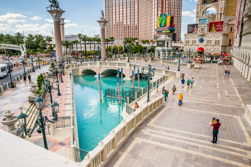 The Venetian Hotel and Casino canal and plaza stock image