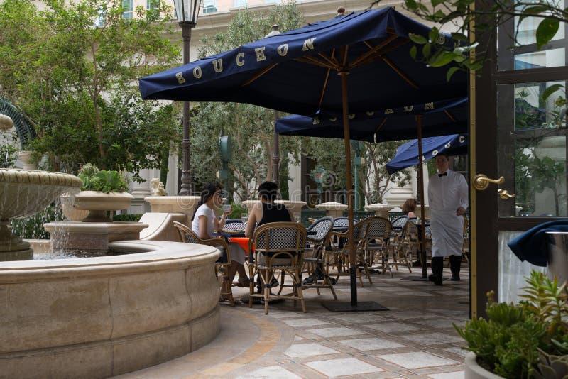 Venetian hotell för Bouchon restaurang, Las Vegas, Nevada royaltyfri bild