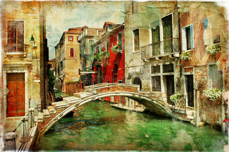 Venetian kanaler arkivbild