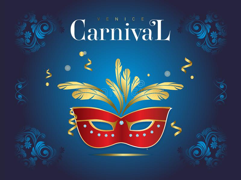 Venetian karnevalbaner med en lyxig maskering och banderoller i vektorillustration stock illustrationer
