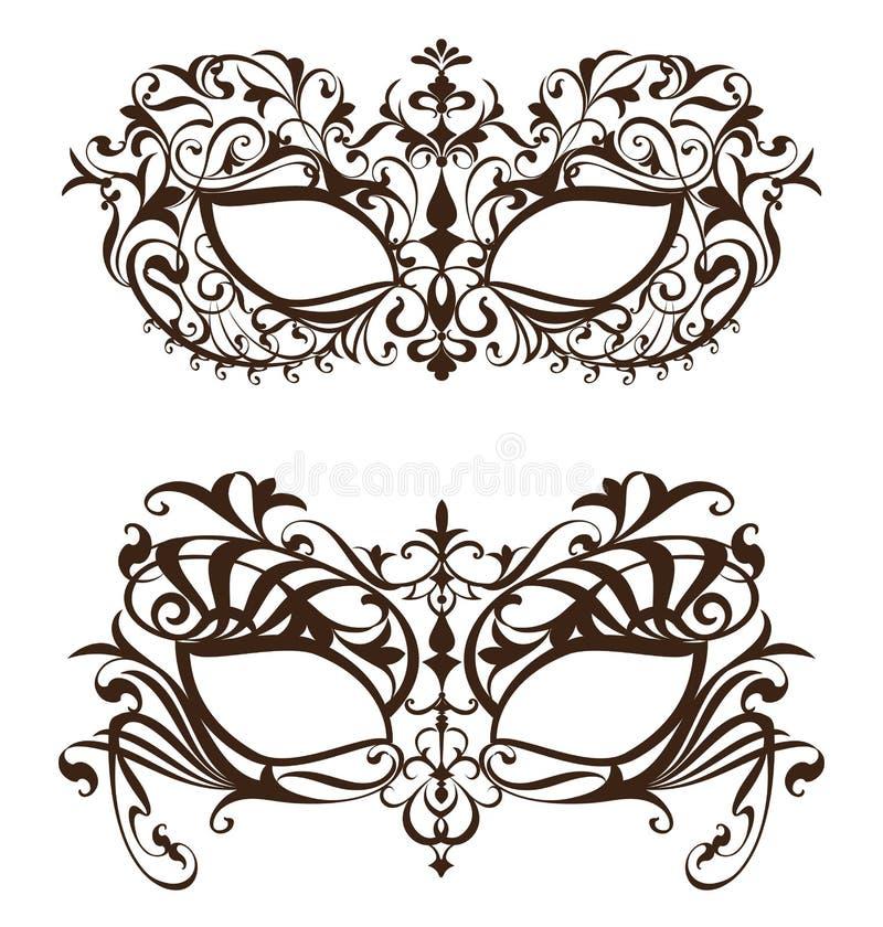 Venetian karnevalmaskering med prydnadmodellen vektor illustrationer