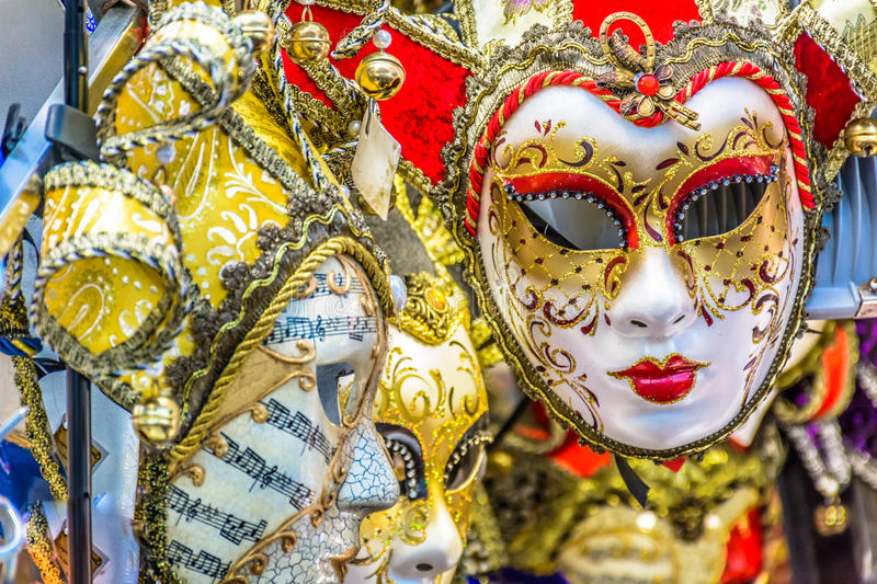 Venetian lady masks in carnival time, Italy. stock image