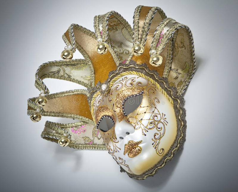 Venetian Mardi Gras Mask. On the wall royalty free stock images