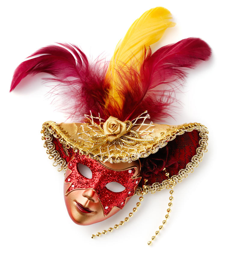 Venetian mask. Red carnival mask. Isolated over white royalty free stock image